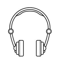 headphones line art simple gadget icon vector image