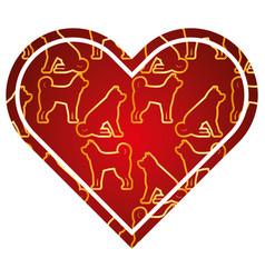 heart love dog zodiac calendar pattern vector image