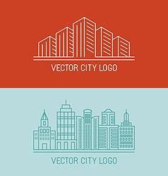 Linear city logo concepts vector