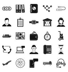 Overtime icons set simple style vector