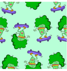 Pattern with green broccoli collection vector