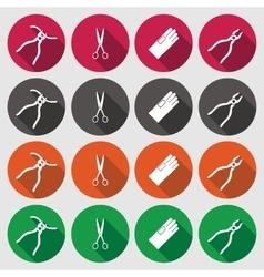 Pliers gloves tongs scissors icons set repair vector