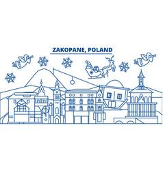Poland zakopane winter city skyline merry vector