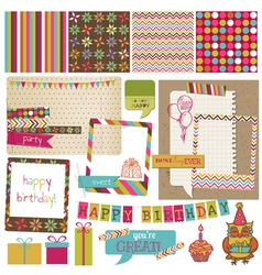 Retro Birthday Celebration Design Elements vector image