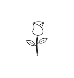 Rose flower for valentines day line icon vector