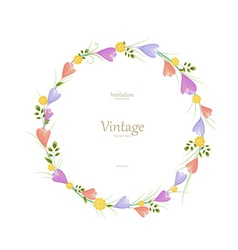 Round floral frame with spring flowers for your vector image