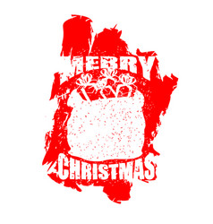 Santa claus red bag in grunge style spray and vector