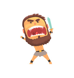 Screaming warrior attacking with sword furious vector