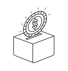 Silhouette flat coin with dollar symbol depositing vector
