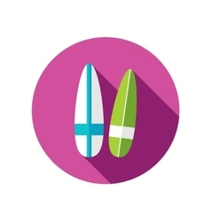 Surfboard flat icon with long shadow vector image
