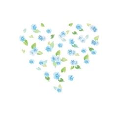 Watercolor delicate flower heart vector