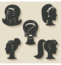 women hairstyle icons vector image vector image