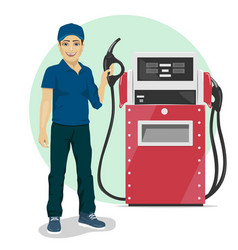 Gas station worker standing next to fuel dispenser vector image