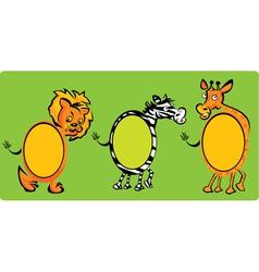 Set of oval frames - animals -lion zebra giraff vector image