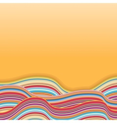 Colorful stripe waves retro background vector