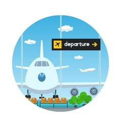 Iconview on airplane and scoreboard departure vector