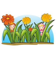 Two little girls hiding vector image