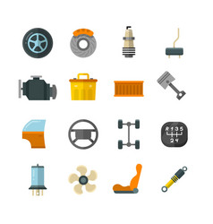 Vehicle auto technology car parts flat vector