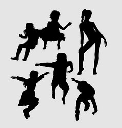 male and female happy playing silhouette vector image