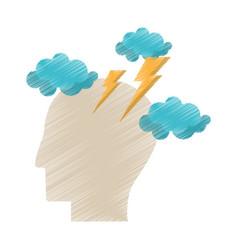 Drawing profile head brainstorm intelligence vector