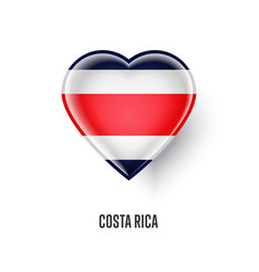 Patriotic heart symbol with costa rica flag vector