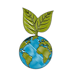 Earth planet with leaves icon vector