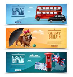 Great britain travel horizontal banners vector