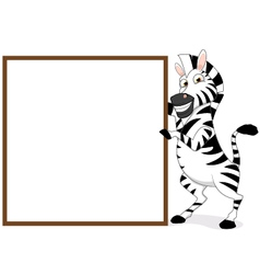 Zebra with blank sign vector
