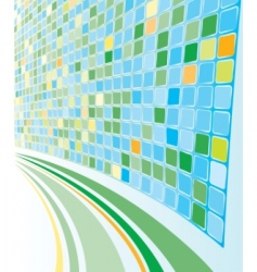 abstract perspective cyan mosaic background vector image
