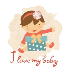 Cute baby with gift box vector image
