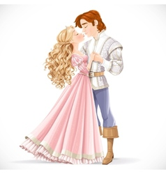 Romantic scene of a fabulous prince and princess vector