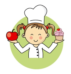 Girl with apple and cake vector image