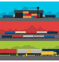 Logistics infographic banner set flat vector