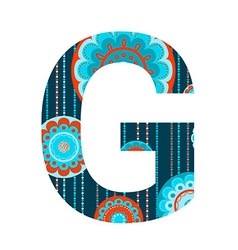 Colorful patterned letter vector image