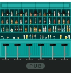 Pub interior with bar counter vector