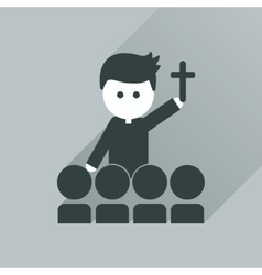 Flat icon with long shadow catholic priest vector