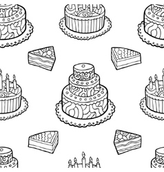Seamless pattern with hand drawn cakes on white vector