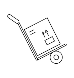 Hand truck with box icon outline style vector