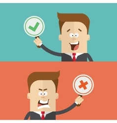 Businessman or manager vote using tablets for and vector image
