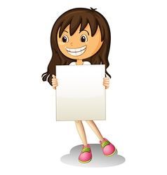 A happy girl holding an empty signage vector image vector image
