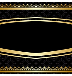 Black ornamental background with golden decoration vector