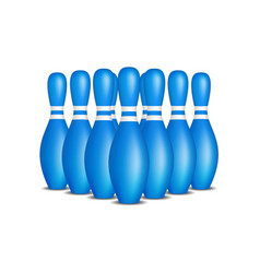Bowling pins in blue design with white stripes vector