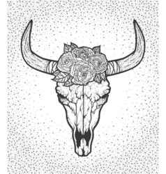 Bull skull with roses native Americans tribal vector image vector image