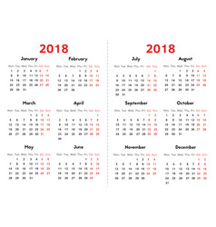 calendar for 2018 year on transparent background vector image