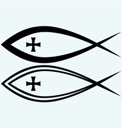 Christian fish symbol with cross vector image vector image