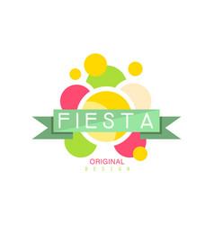 Fiesta original logo design colorful label with vector