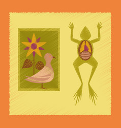 Flat shading style icon biology frog bird flowers vector