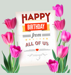 happy birthday vintage text poster composition vector image vector image