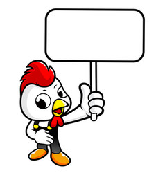 Happy chicken character holding a picket isolated vector