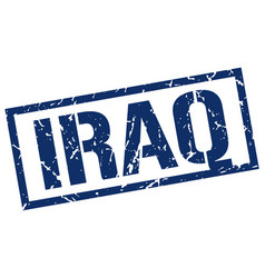 Iraq blue square stamp vector